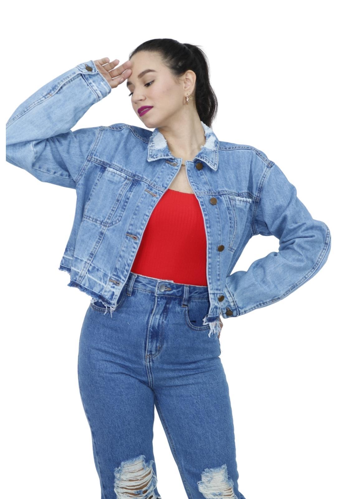 Jaqueta Feminina Jeans Cropped Clara Destroyed