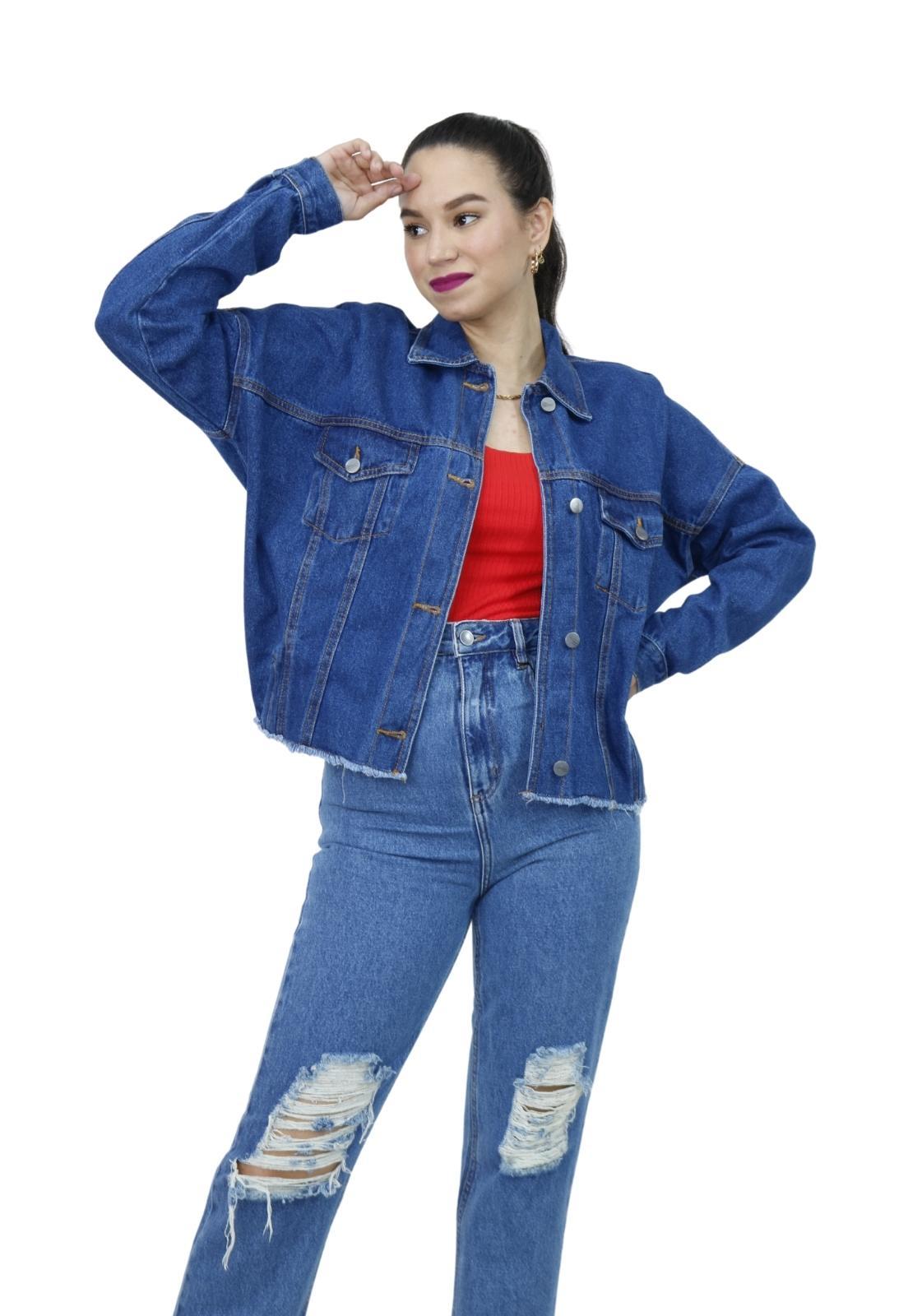 Jaqueta Feminina Jeans Escuro Ampla Elástico