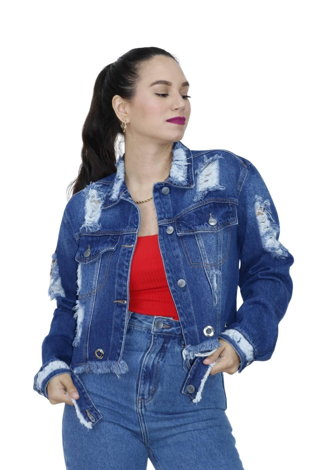 Jaqueta Feminina Jeans Escuro Cropped Ilhós