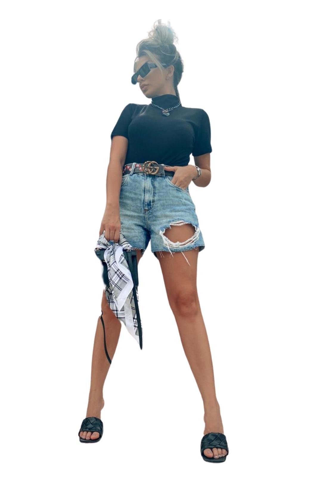 Short Feminino Jeans Lavado Destroyed Com Puídos Lenço