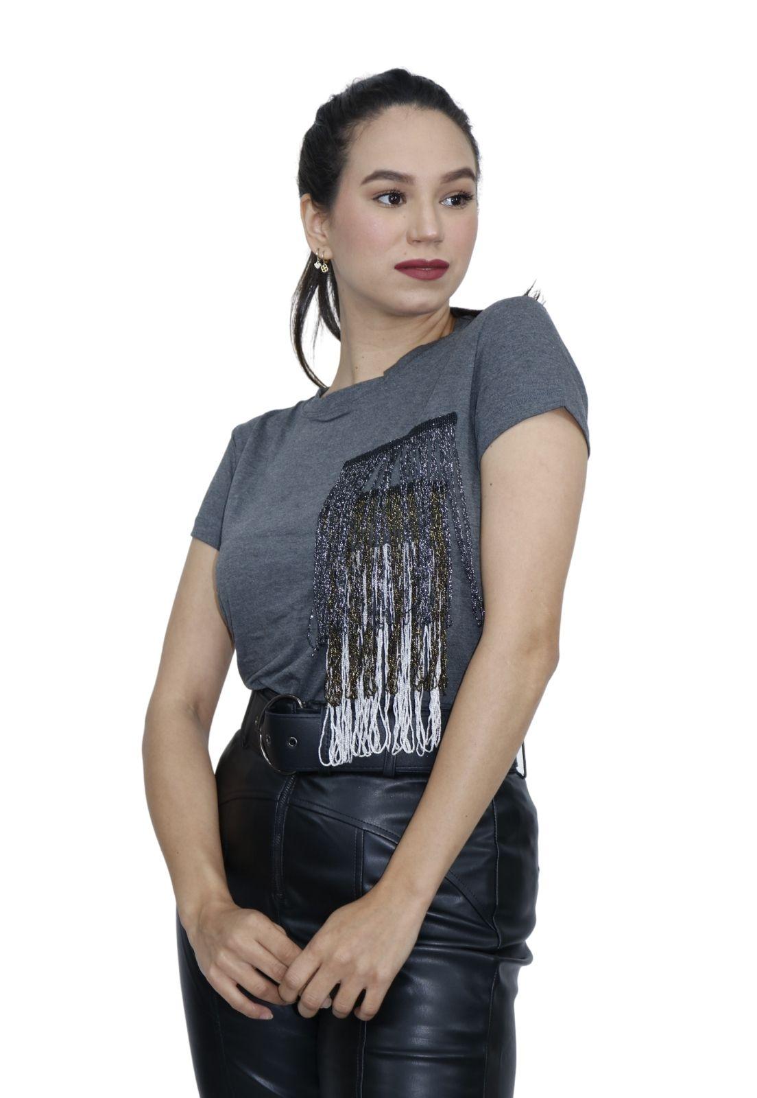 Camiseta Feminina T-shirt Viscolycra Franja Lurex