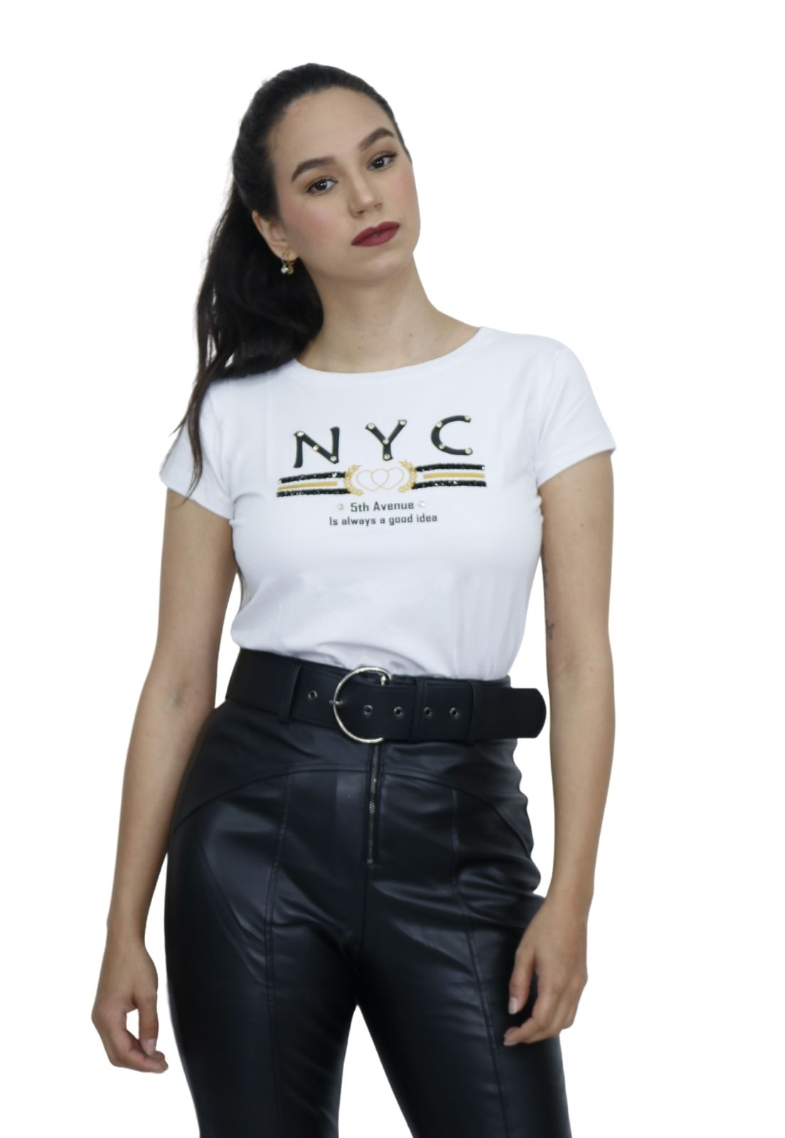 Camiseta Feminina T-shirt Viscolycra Bordado Pedraria