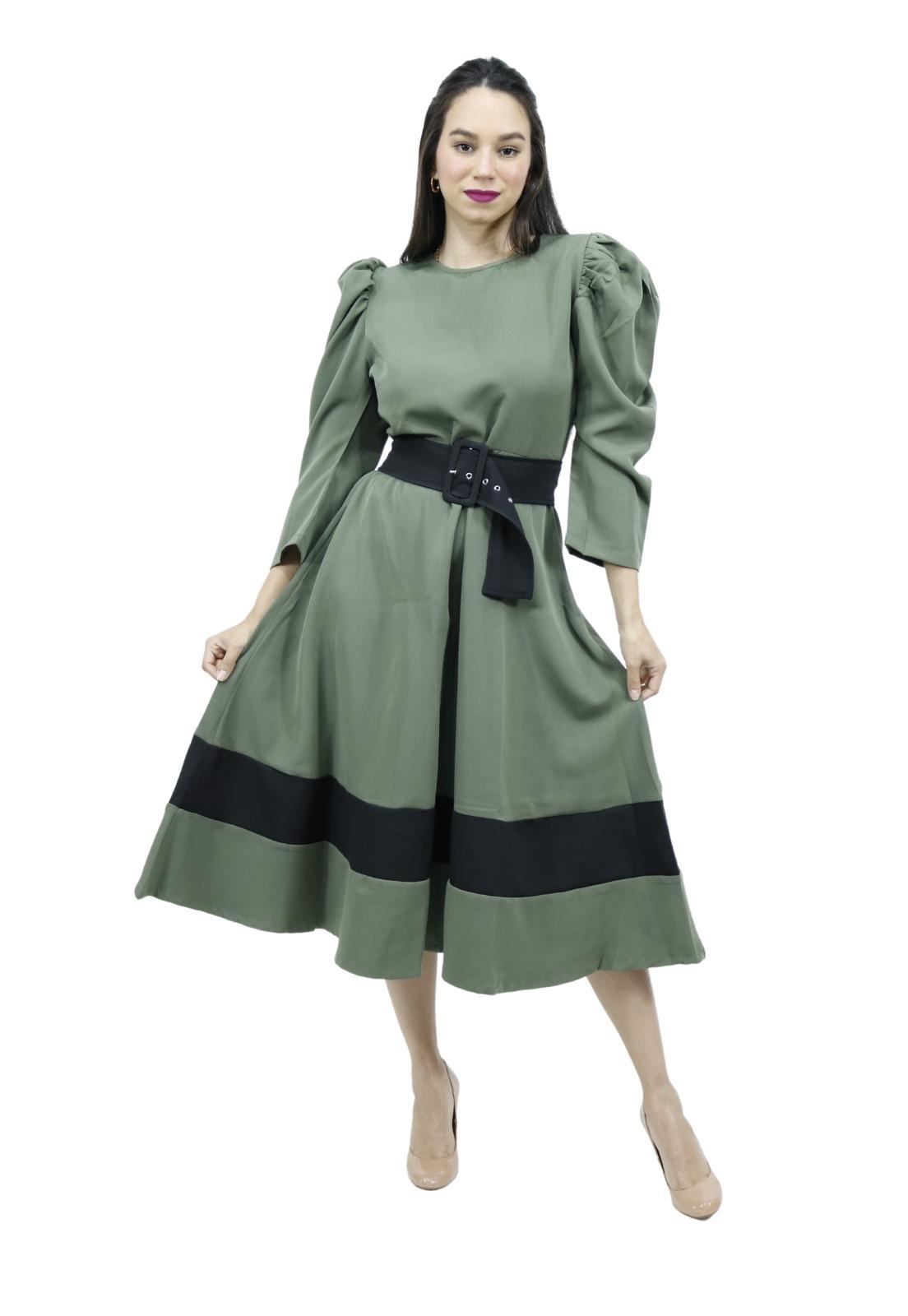 Vestido Alfaiataria Romântico Bicolor Cinto