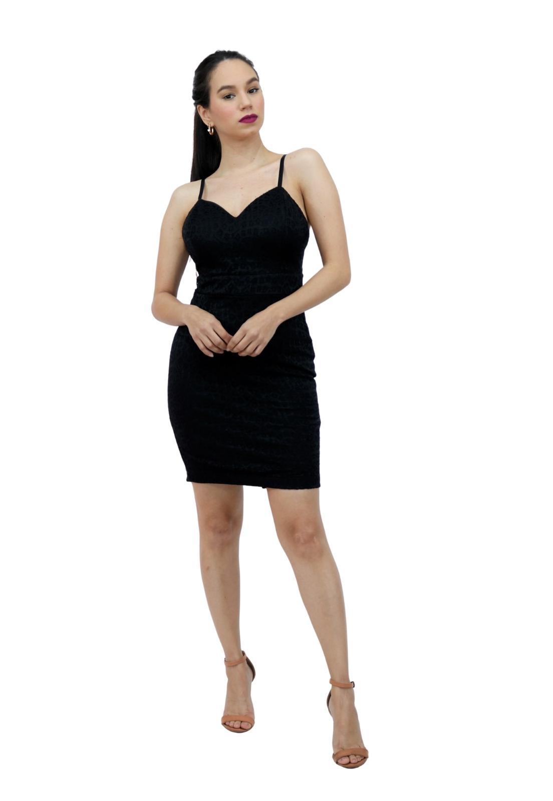 Vestido Feminina Curto Renda Elastano Com Bojo Alça Sexy