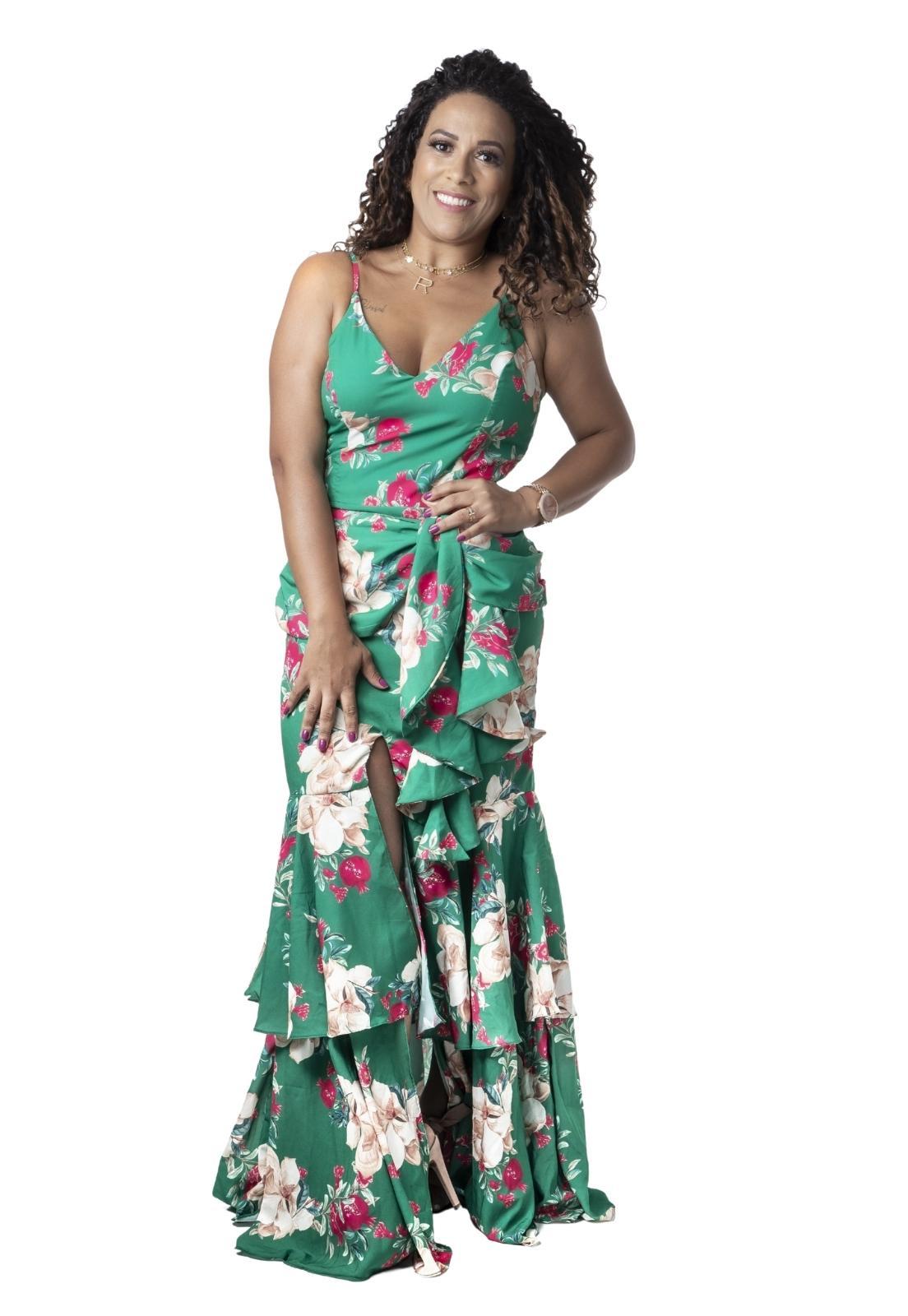 Vestido Feminino Festa Estampa Floral Assimétrico Babado