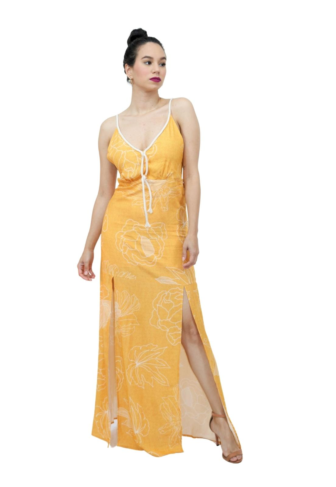 Vestido Feminino Longo Viscose Fenda Frontal Detalhe Cordão