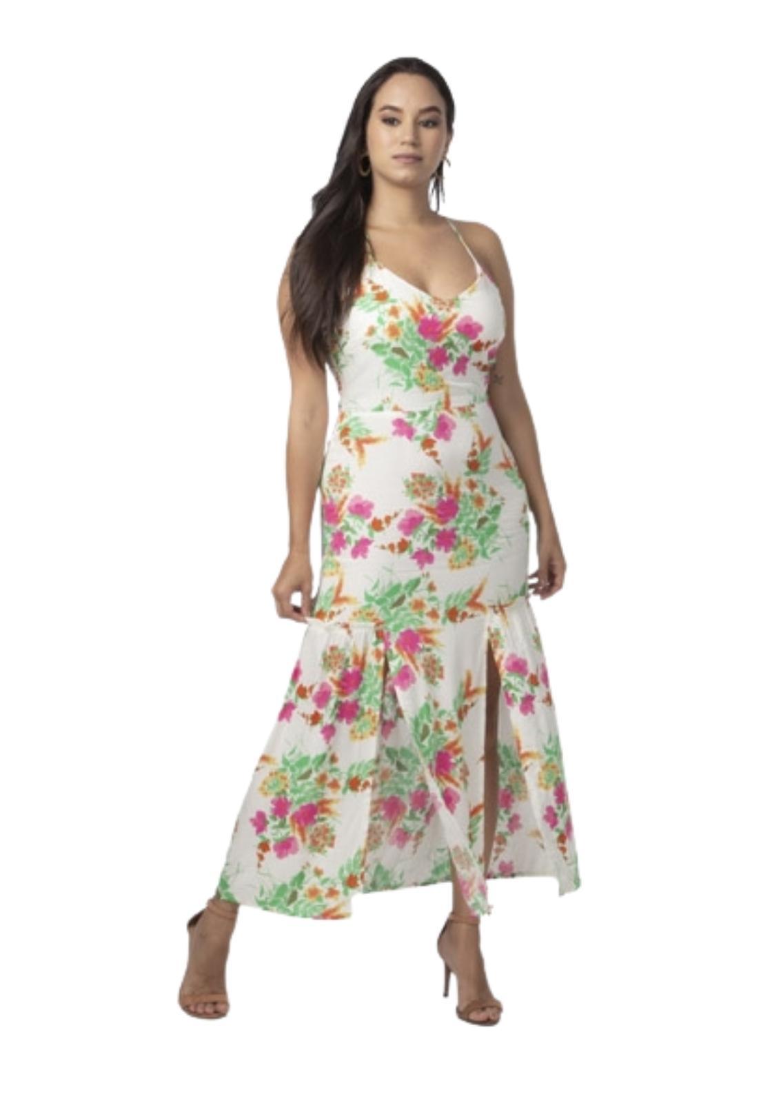 Vestido Feminino Midi Crepe Estampa Floral Fenda Frontal