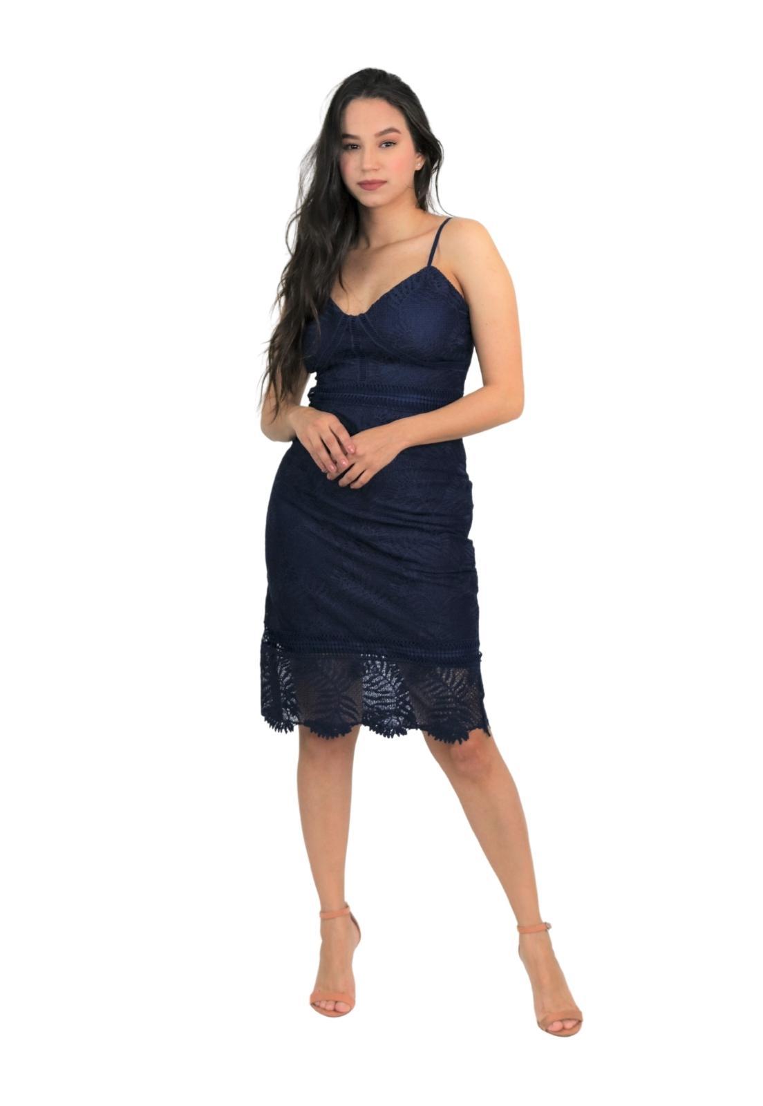 Vestido Feminino Midi Guipir Alça Fina Elegante e Sexy