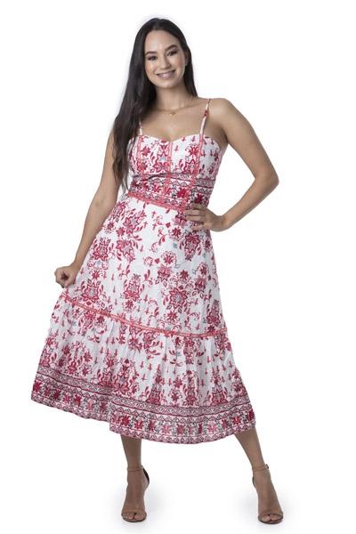 Vestido Feminino Midi Laise Alça Fina Estampado Romântico