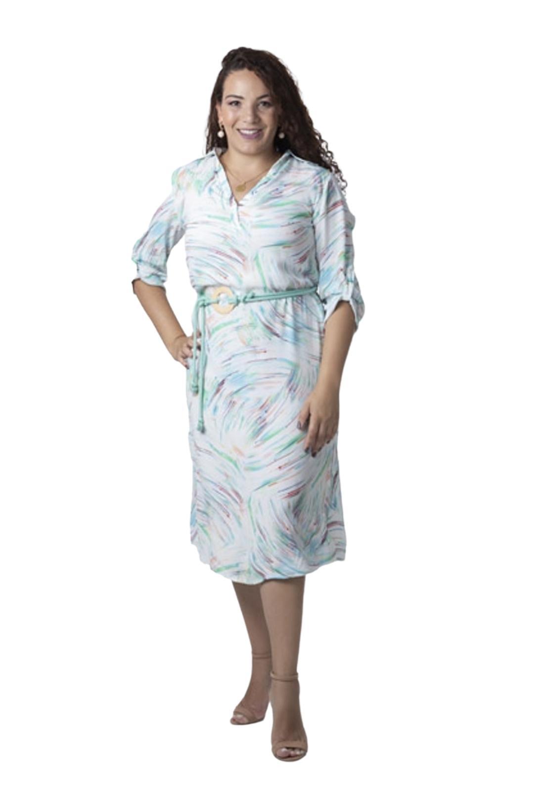 Vestido Feminino Midi Manga Curta Estampado Cinto Cordão