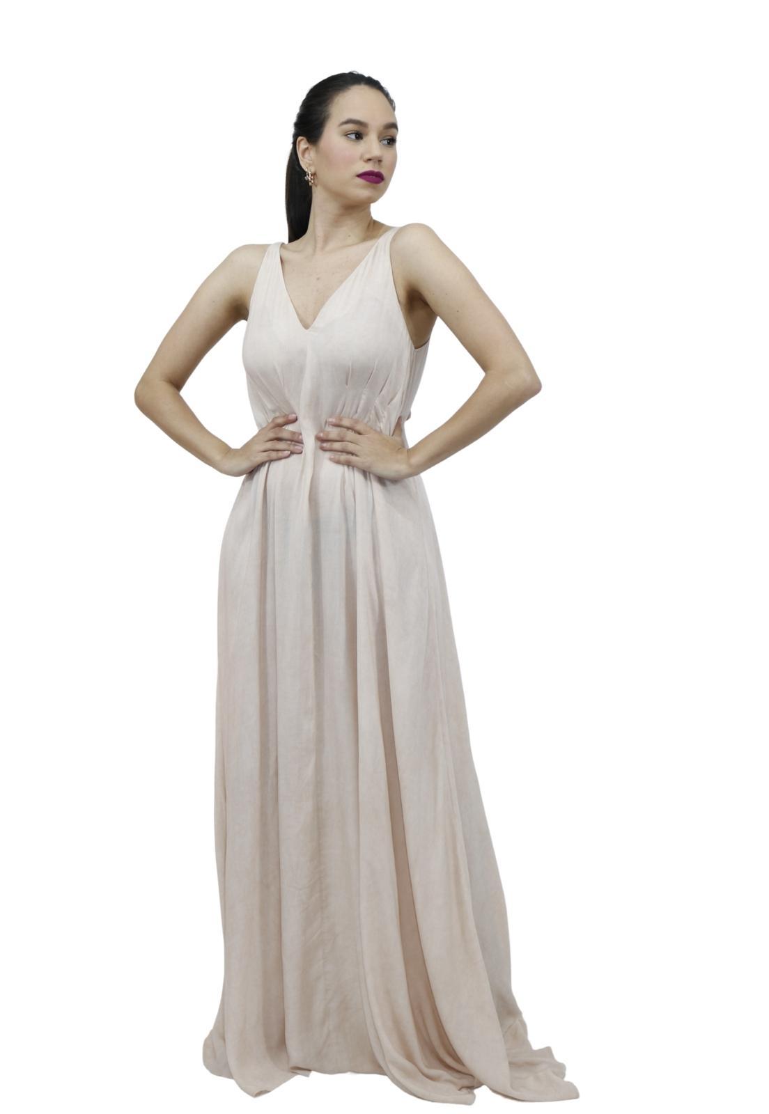 Vestido Feminino Viscose Longo Com Preguinhas Solto Zíper