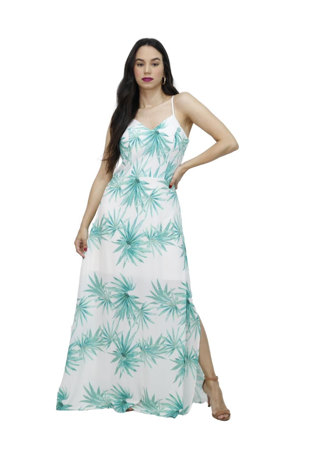 Vestido Longo Estampado Com Alças Fenda Lateral