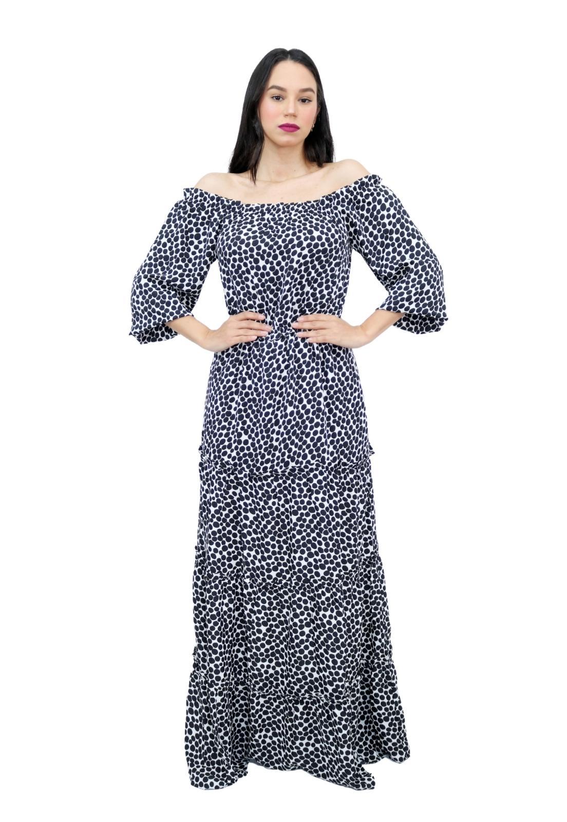 Vestido Longo Estampado de Poá Ciganinha Manga Longa