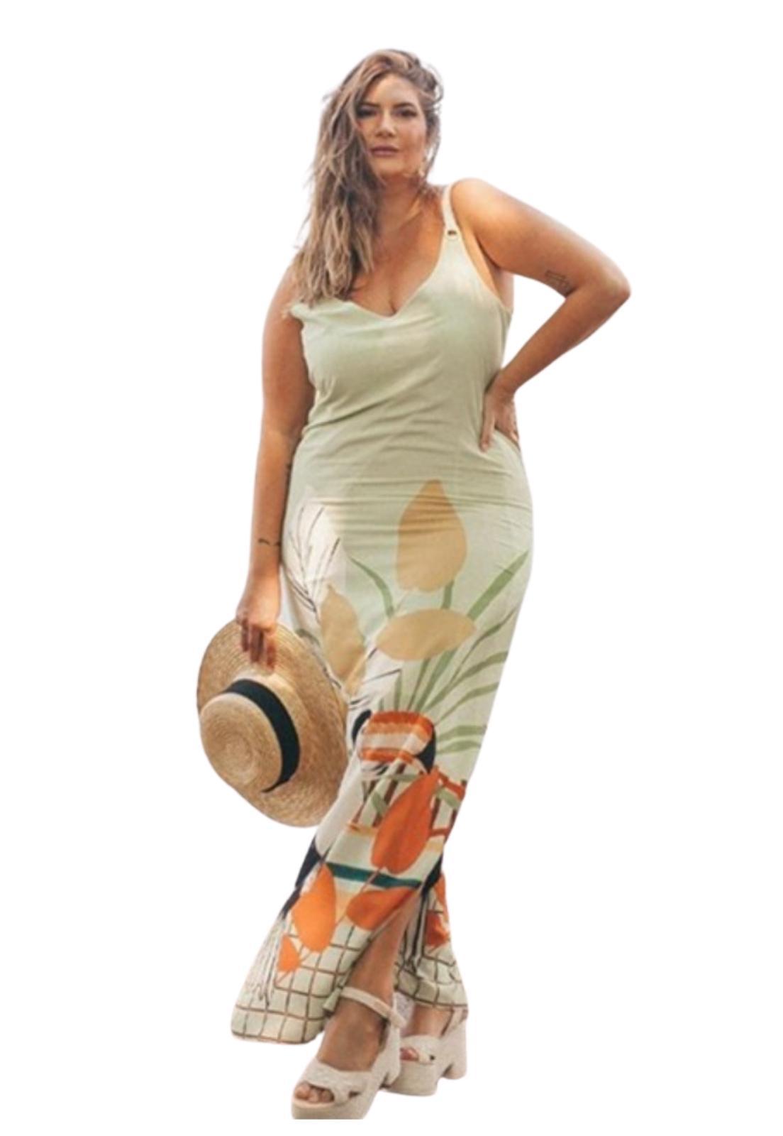 Vestido Longo Estampado Viscose Plus Size Decote V
