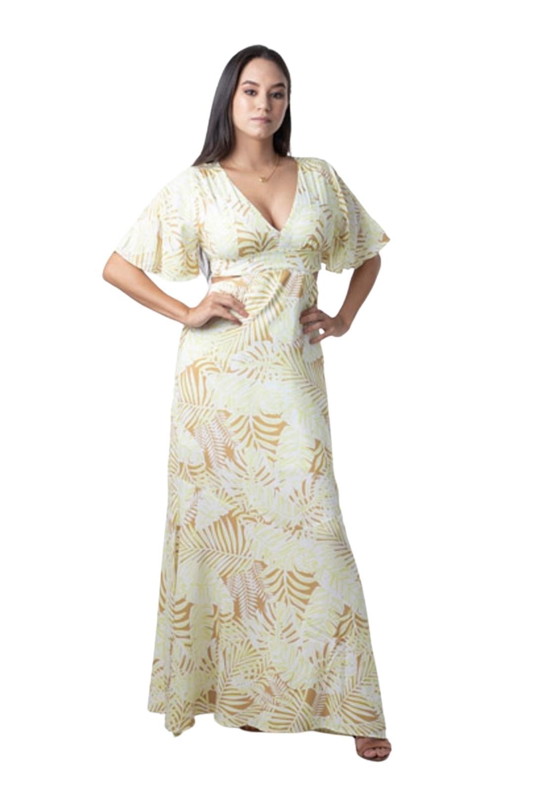 Vestido Longo Feminino Manga Ampla Abertura Lateral Estampa