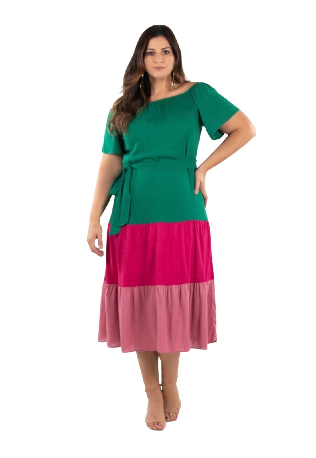 Vestido Midi Feminino Plus Size Ciganinha Babados e Faixa