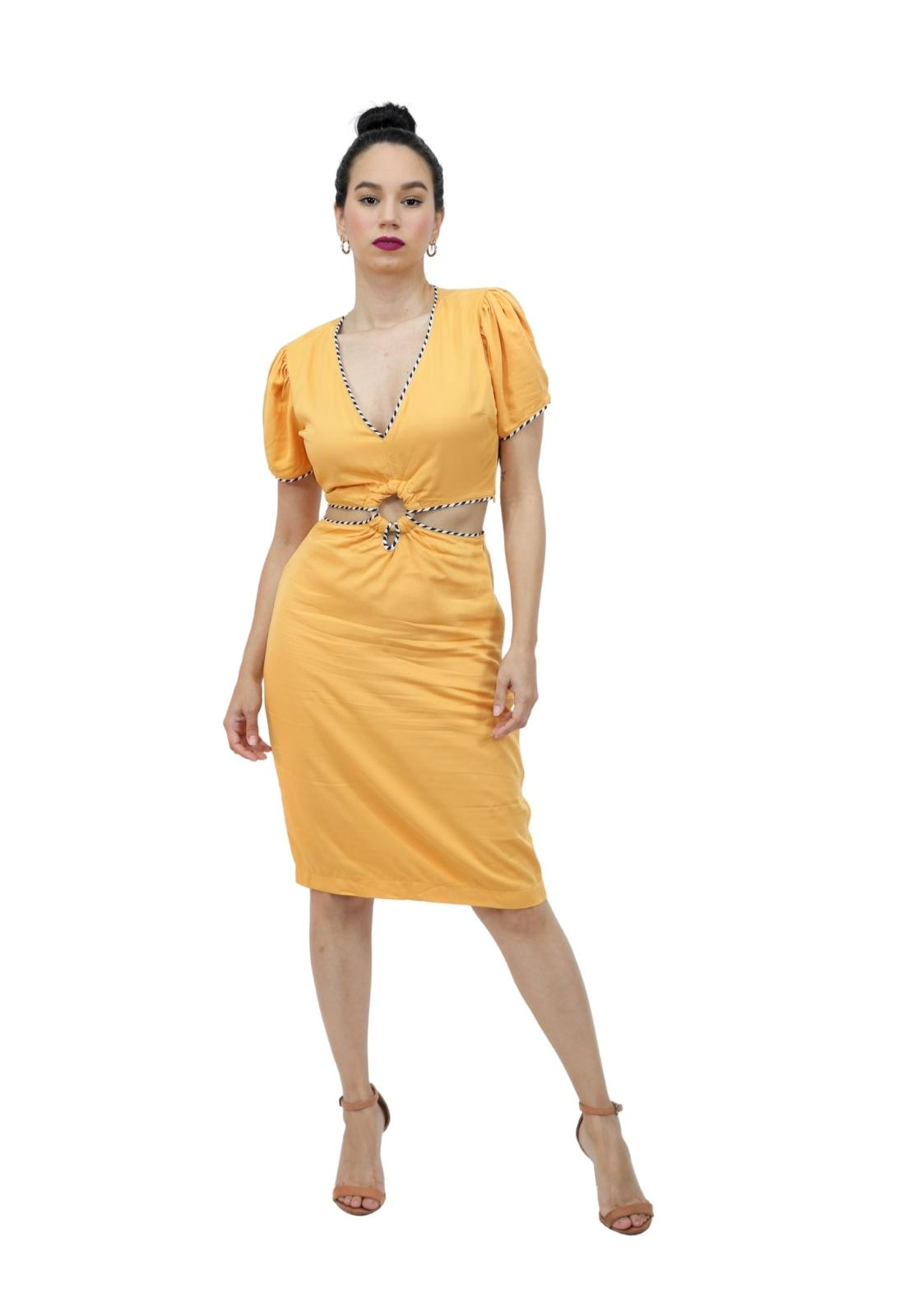 Vestido Midi Viscose Abertura Cintura Detalhe Argola