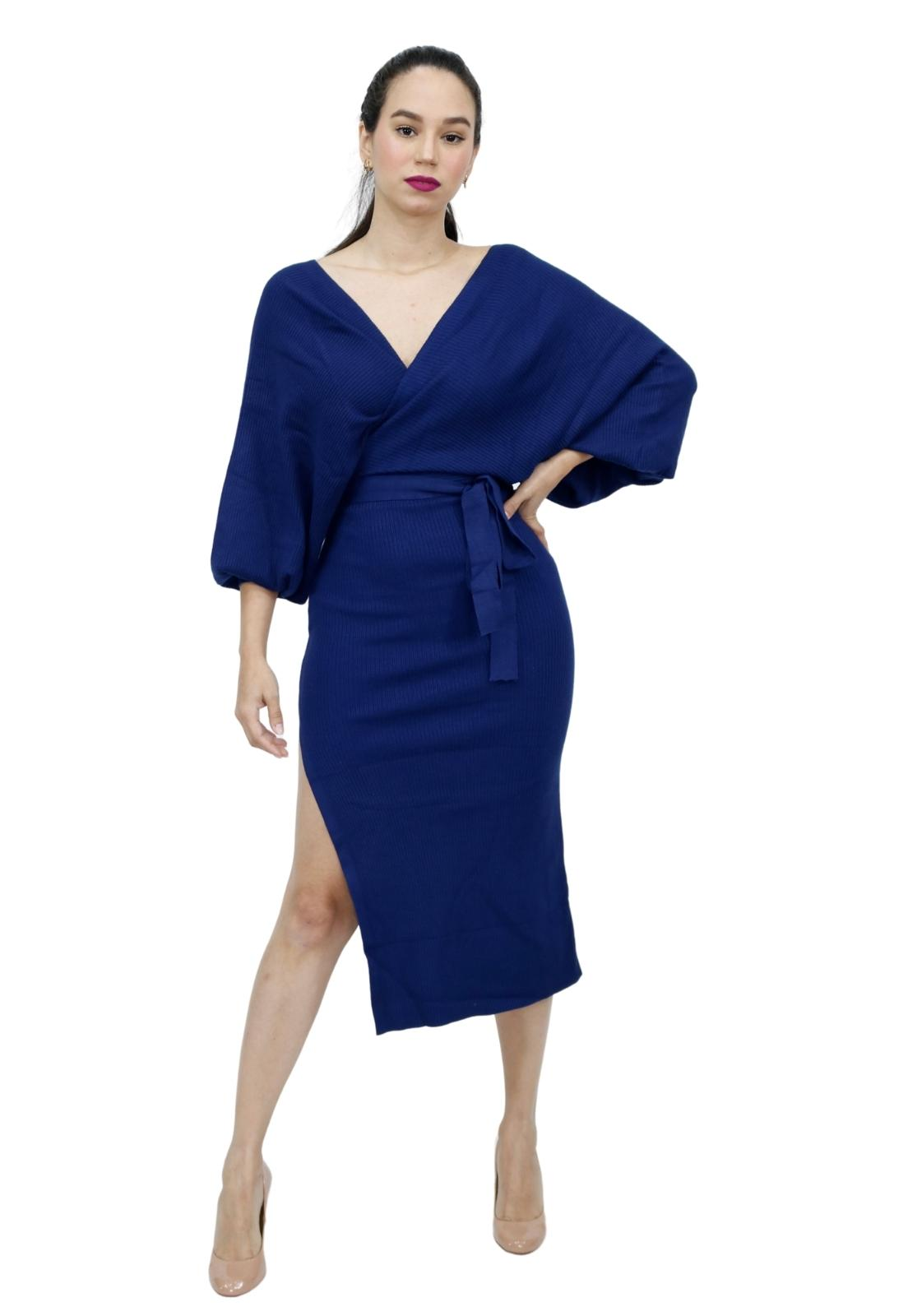 Vestido Tricot Com Faixa Transpasse Fenda Lateral