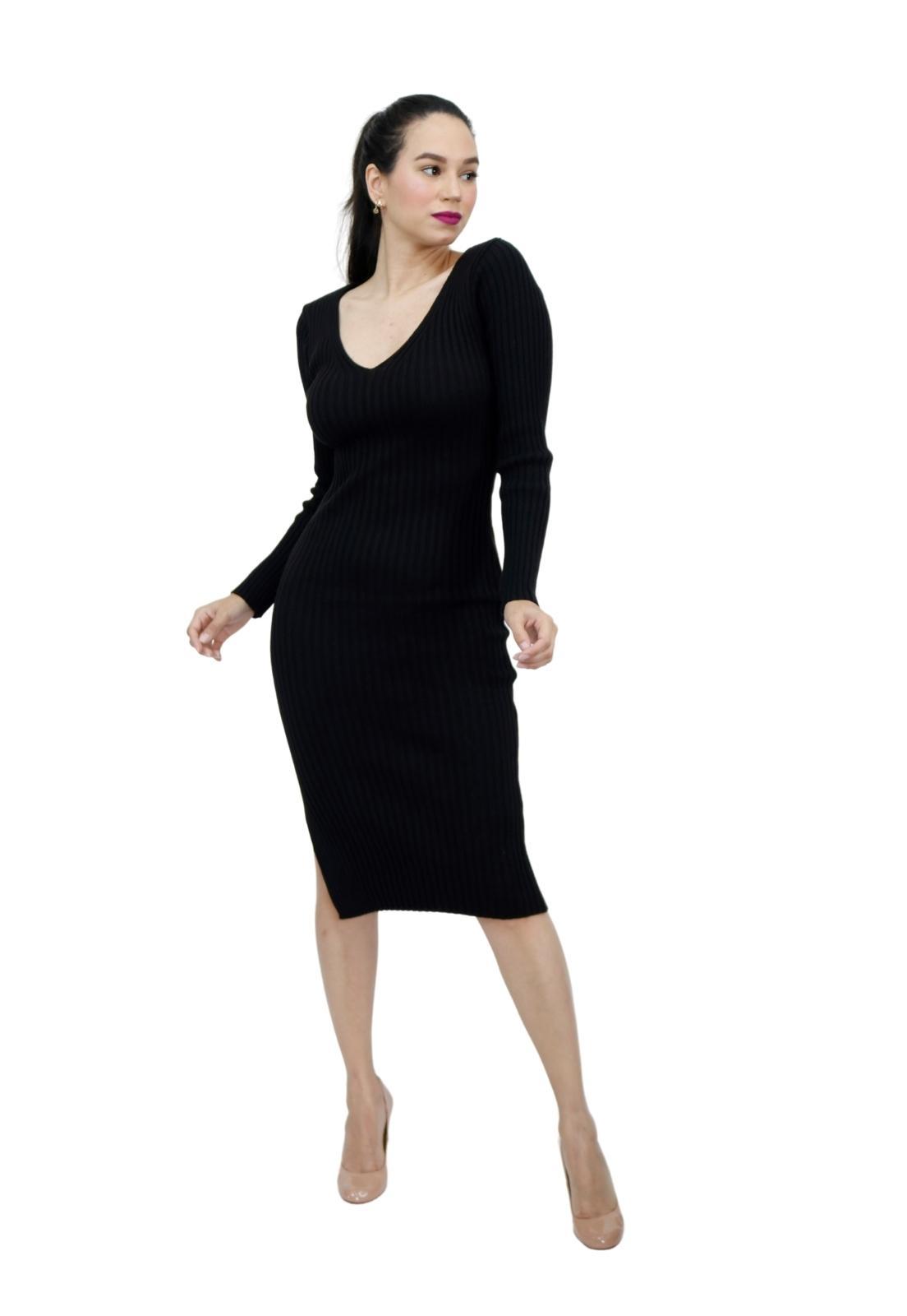 Vestido Tricot Midi Manga Longa Fenda Lateral