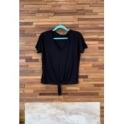 Blusa Basic com Amarração Preto Villon