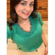 Blusa Basic Verde com Renda