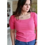 Blusa Decote Quadrado Rosa