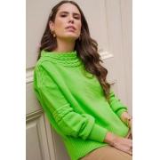 Blusa Tricot Bufante Tranças Verde