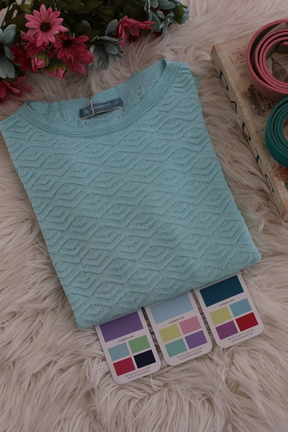 Blusa Basic Babados Azul Claro