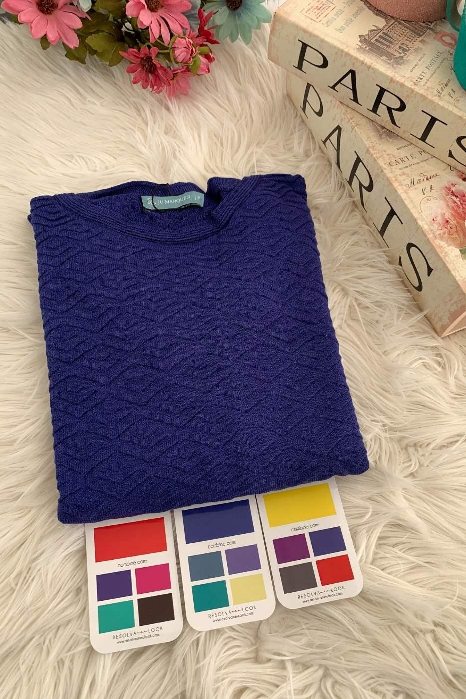 Blusa Basic Babados Azul Royal