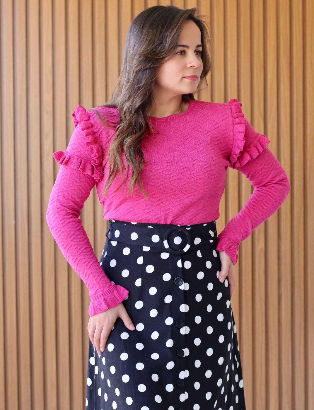 Blusa Basic Babados Rosa Pink