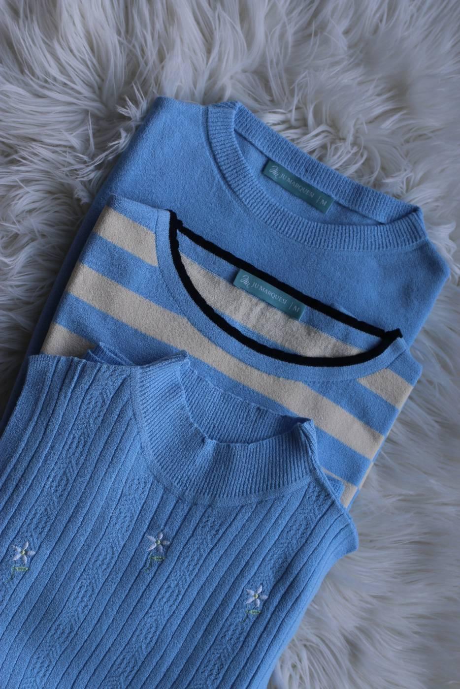 Blusa Basic Essencial Azul Serenity