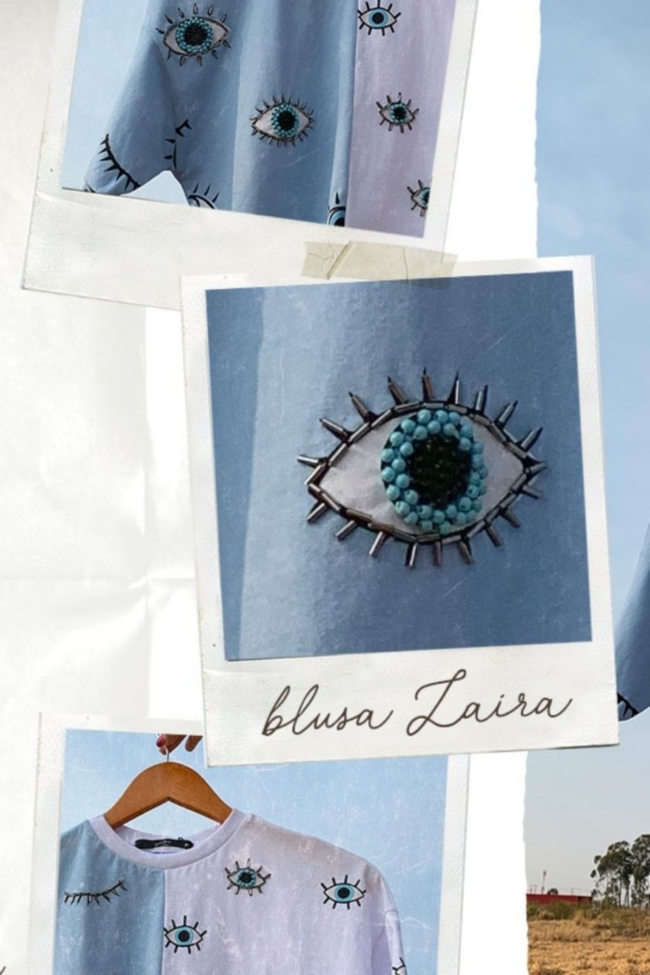 Blusa Bicolor Olhos Villon