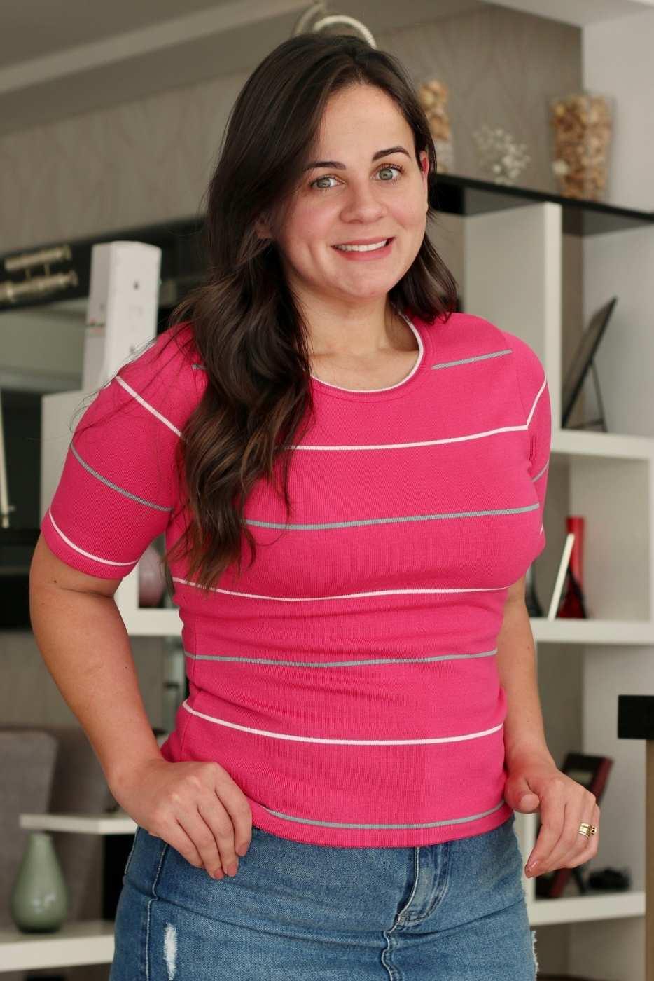 Blusa Comfy Listrada Rosa Pink