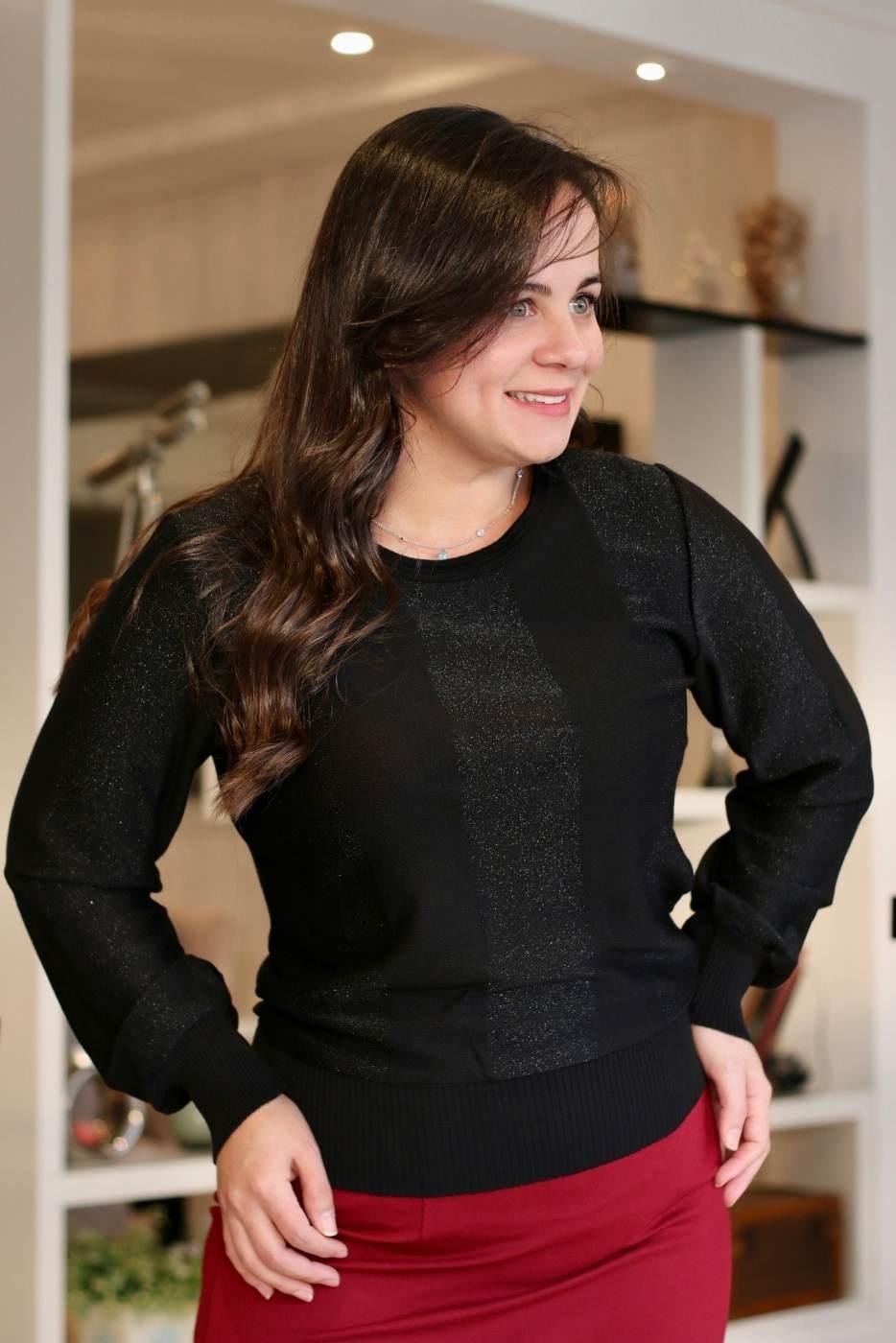 Blusa Elegance Shine Preto