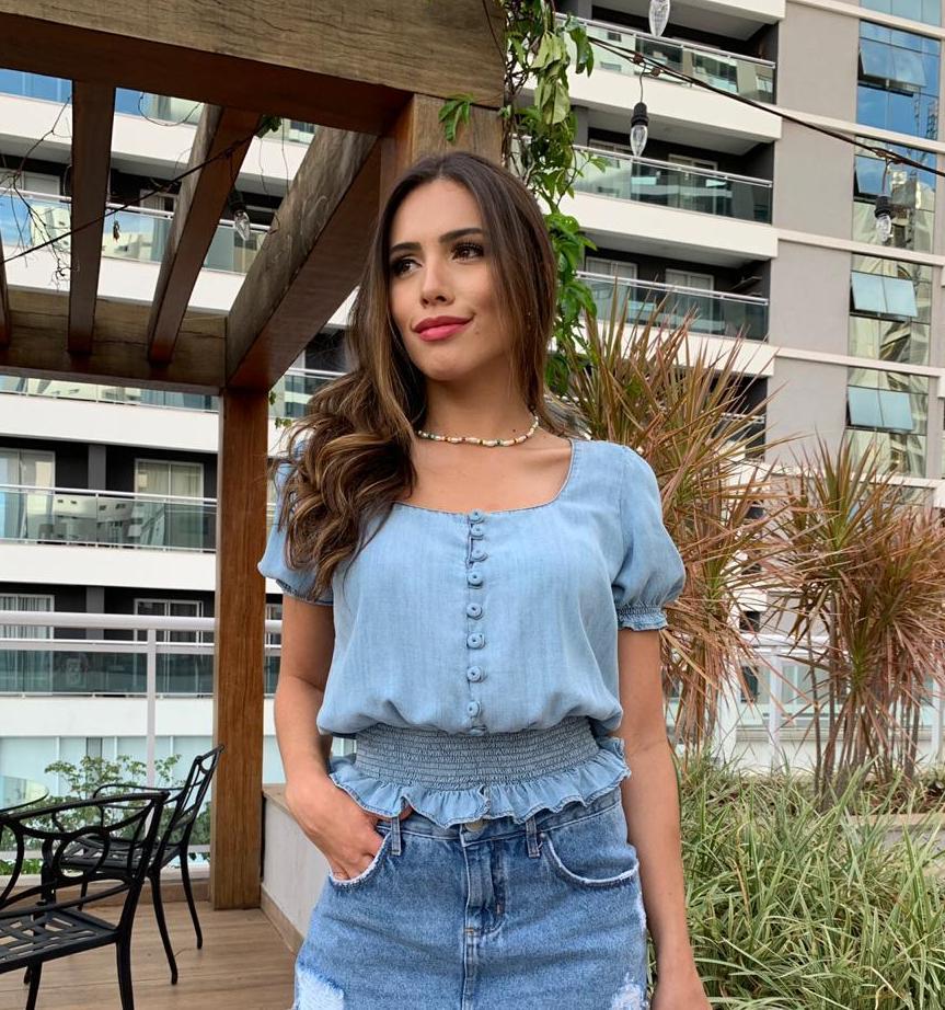 Blusa Jeans Lastex