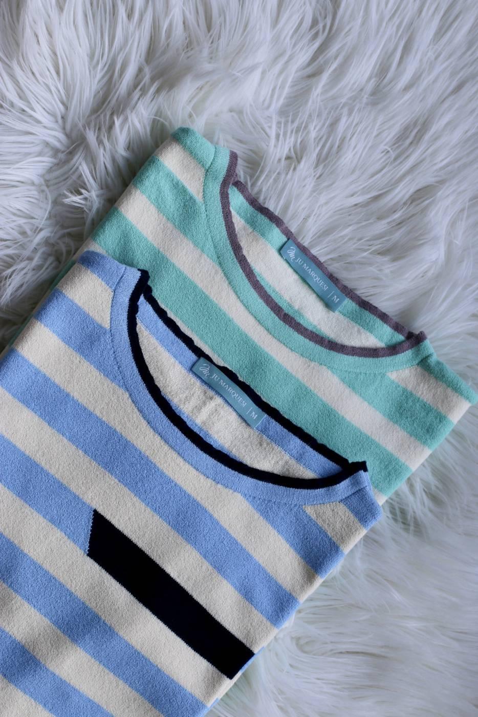 Blusa Listras Bicolor Azul Serenity