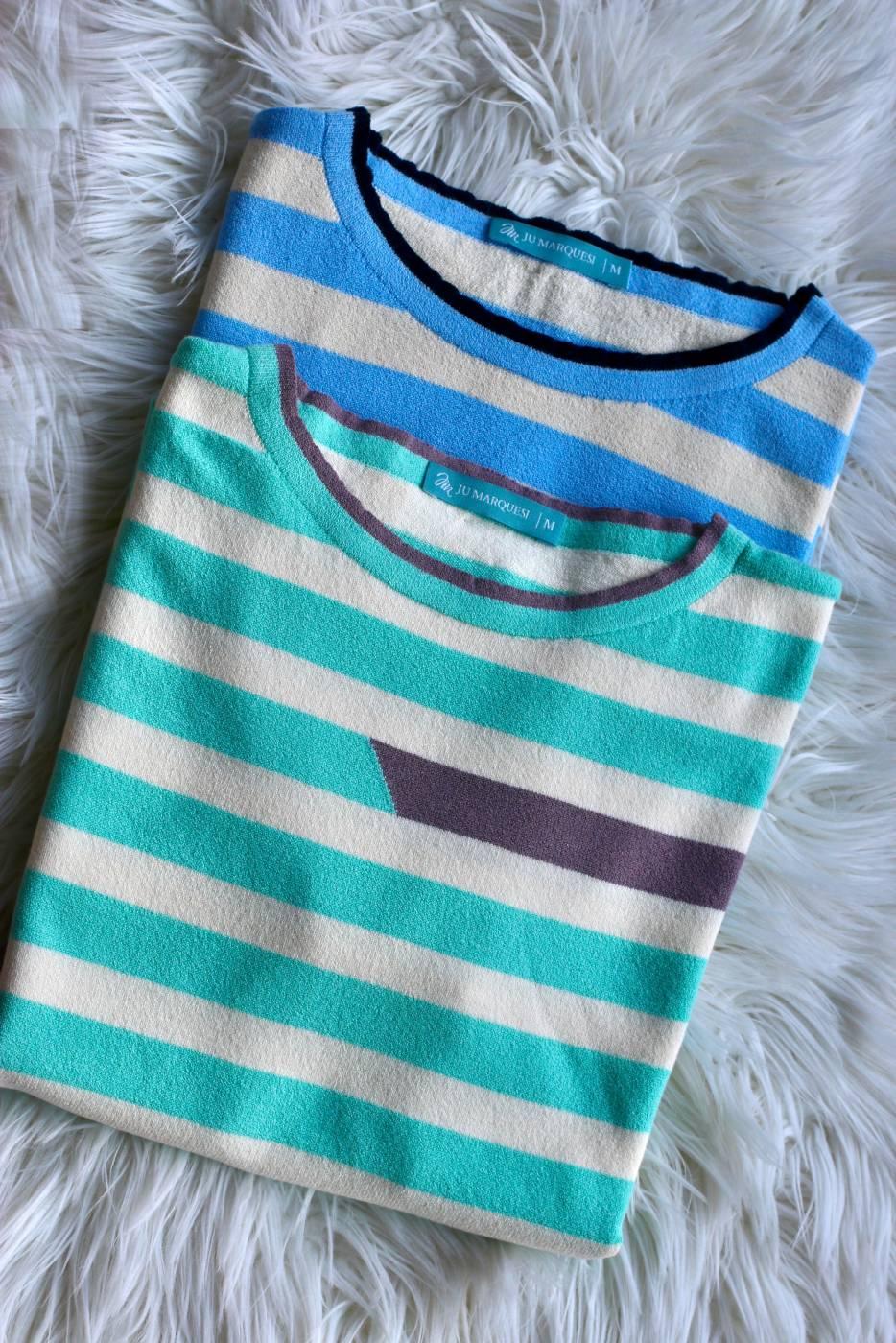 Blusa Listras Bicolor Verde