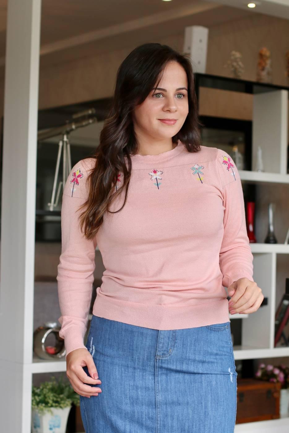 Blusa Pala Flores Rosê