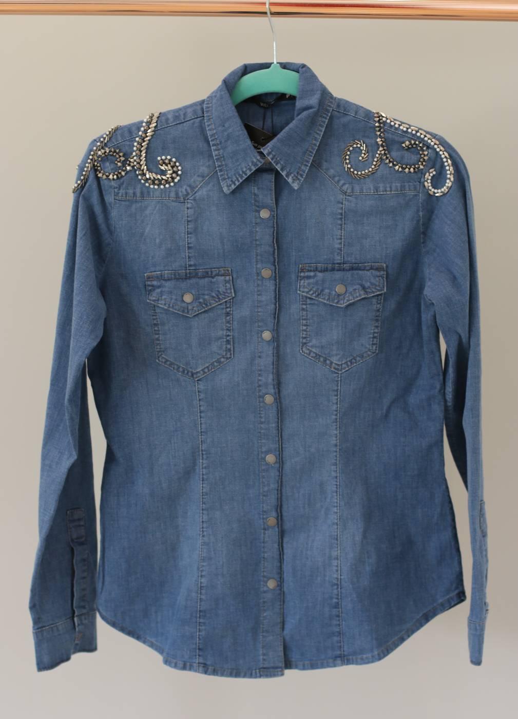 Camisa Jeans Bordado Ombro Villon