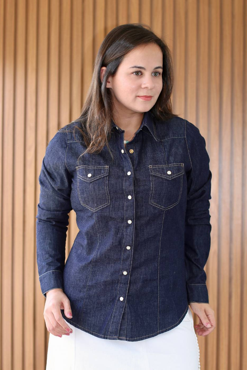 Camisa Jeans Pesponto Villon