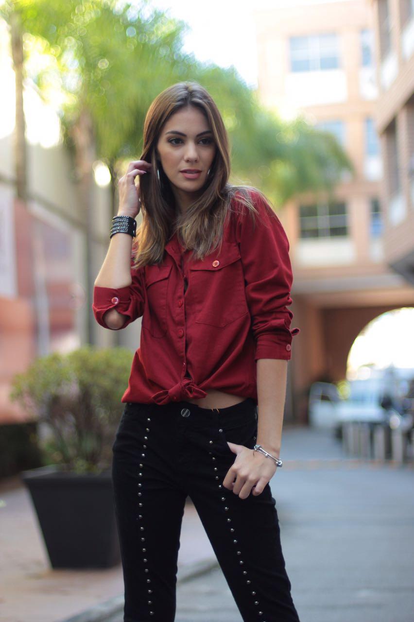Camisa Sarja Vermelha Villon