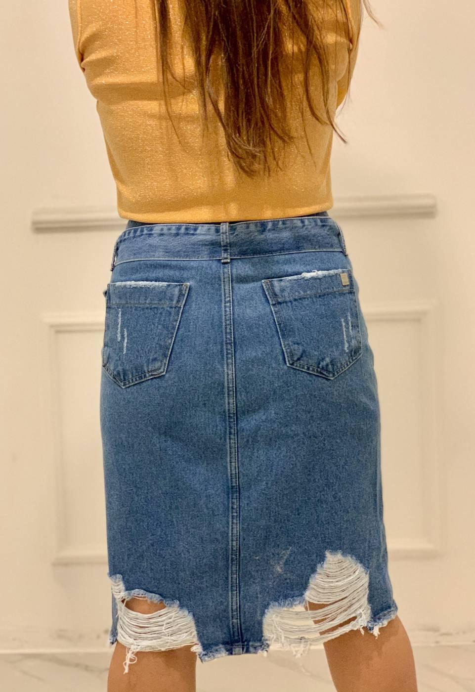 Saia Jeans Midi Botões Villon
