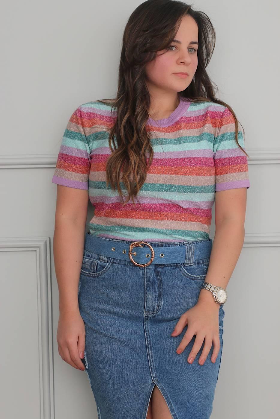 Saia Jeans Midi Fenda Com Cinto Villon