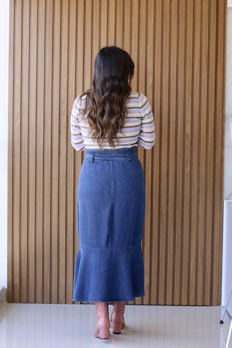 Saia Jeans Midi Liocel Villon