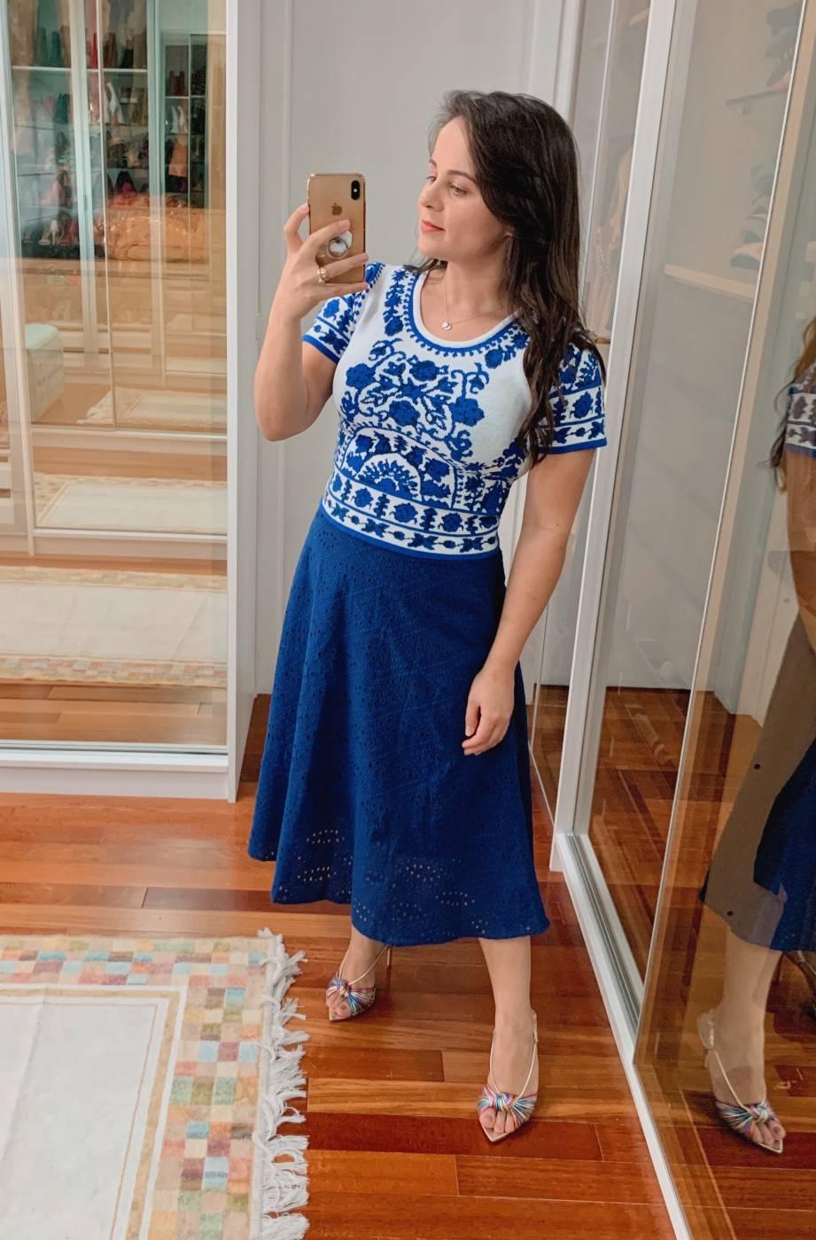Saia Midi Laise Azul Lekazis