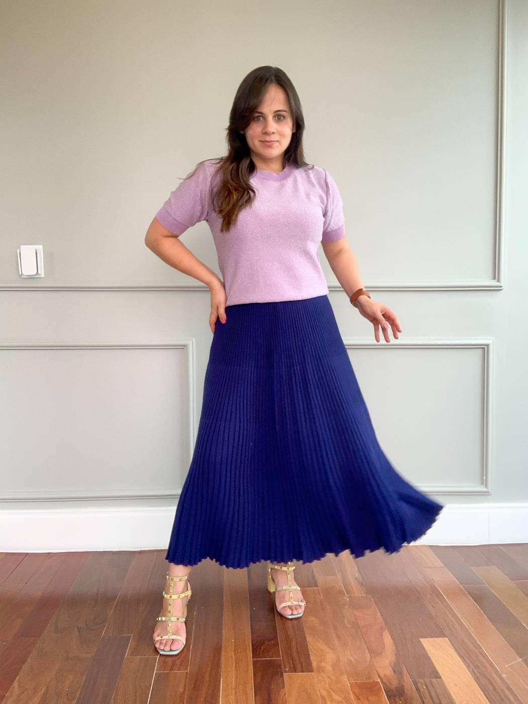 Saia Midi Plissada Sara Azul Sucre
