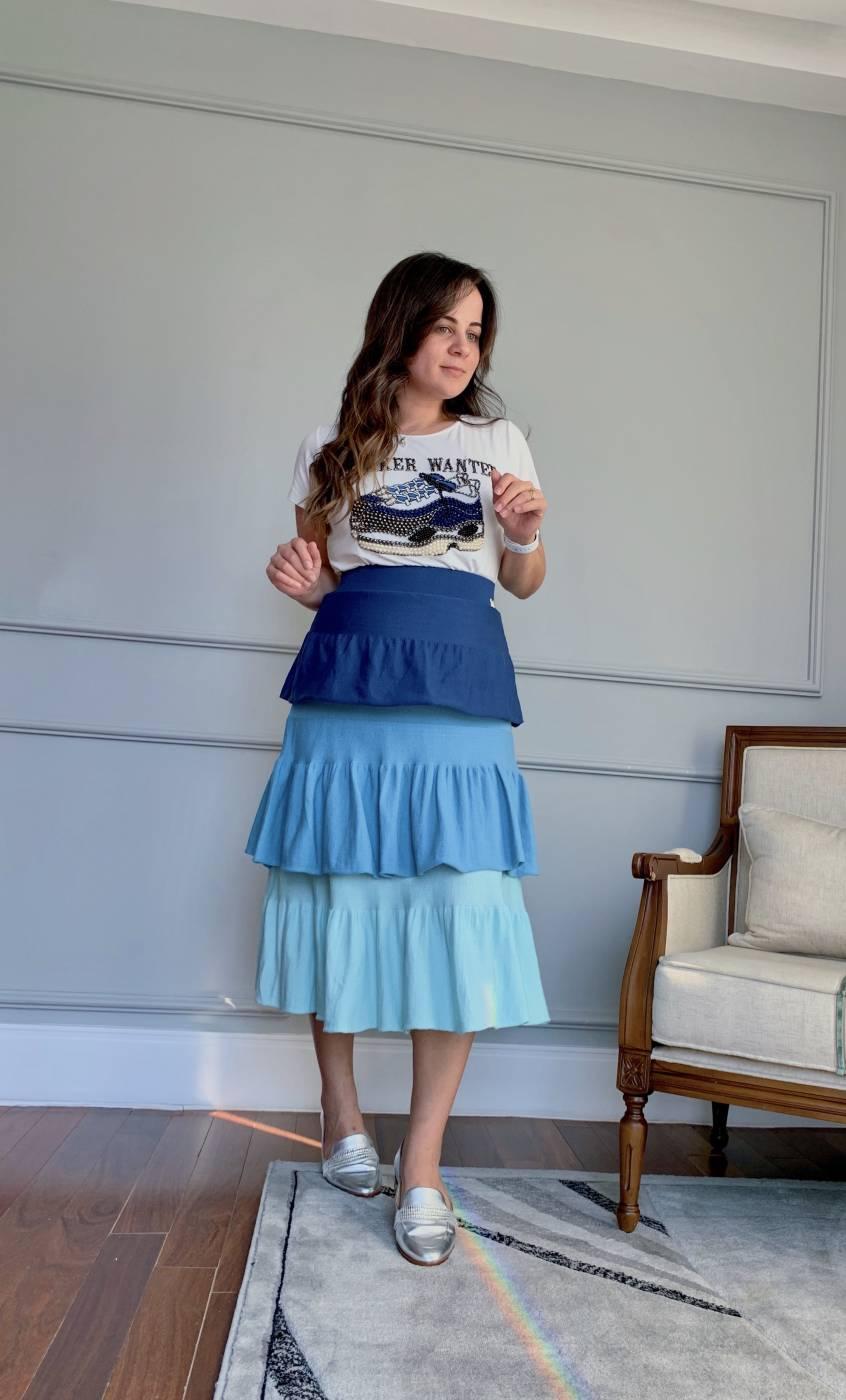 Saia Midi Tricolor Azul