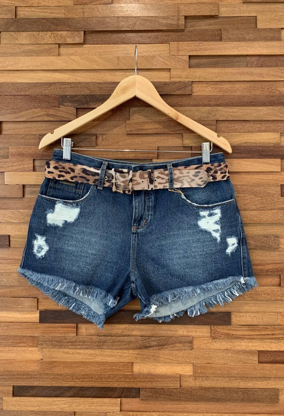 Short Jeans Basic Com Cinto Animal Print Villon