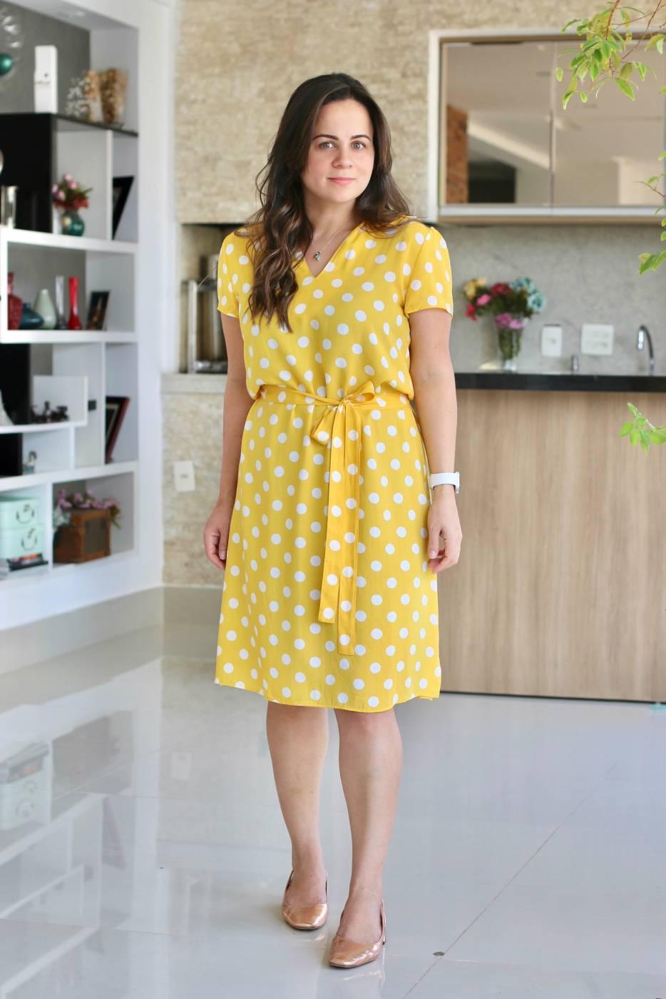 Vestido Amarelo Poa