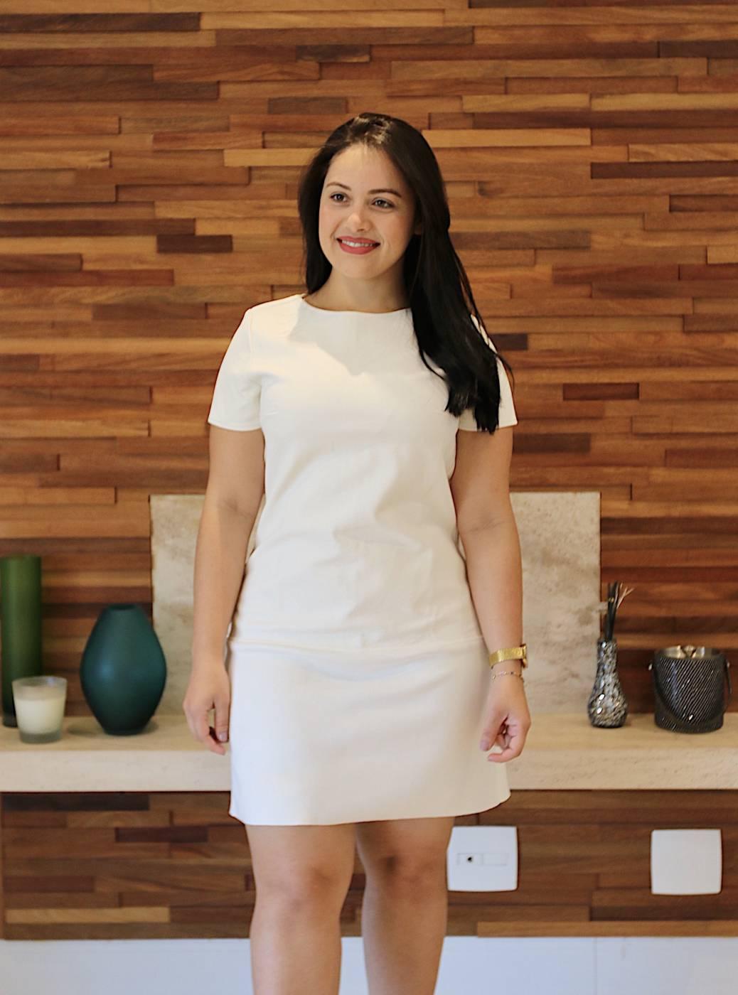 Vestido Branco com Barra em Suede Miss Mary
